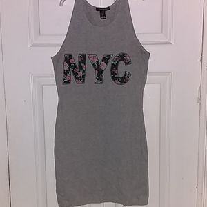 Forever21 Stretchy NYC Gray Floral Workout Tanktop